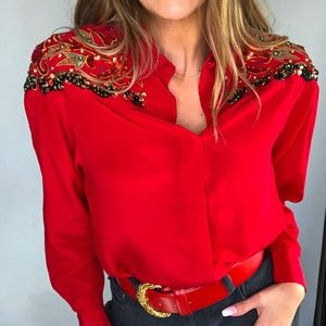 Vintage Silk Red Sequin Western Blouse Size 4 G120